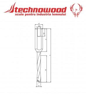 Burghiu CMS Integral Gauri Infundate L=77 mm pentru lemn